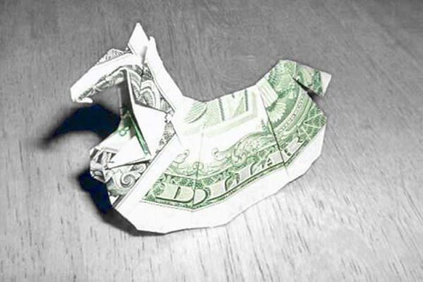 An origami rocking horse from a dollar bill