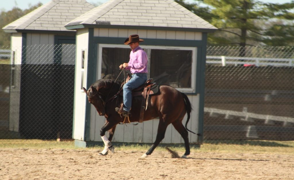 Clinton Anderson loping a horse in hyperflexion, typical of his riding and training habits.