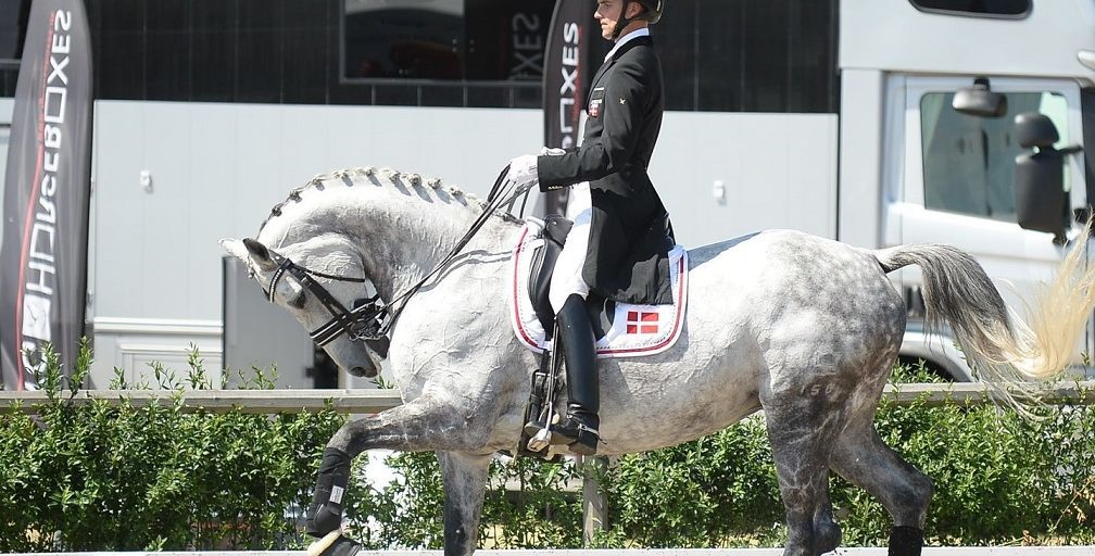 Andreas Helgstrand holding his horse in Rollkur, or hyperflexion of the neck.