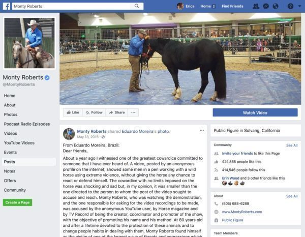 Eduardo Moreira defends Monty Roberts against accusations of involvement in Brazil horse abuse video.